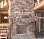 log cabin home fireplace