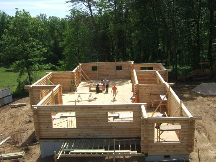 log cabin home wall construction