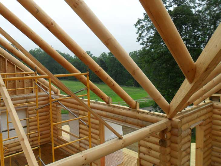 log cabin home rafters