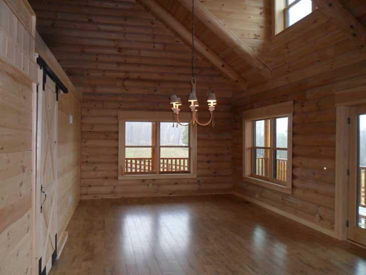 log cabin home interior dining