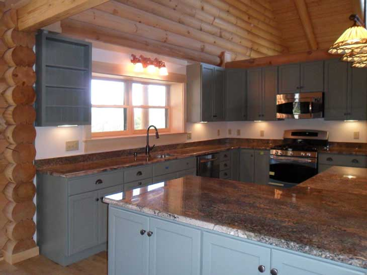 log cabin home kitchen