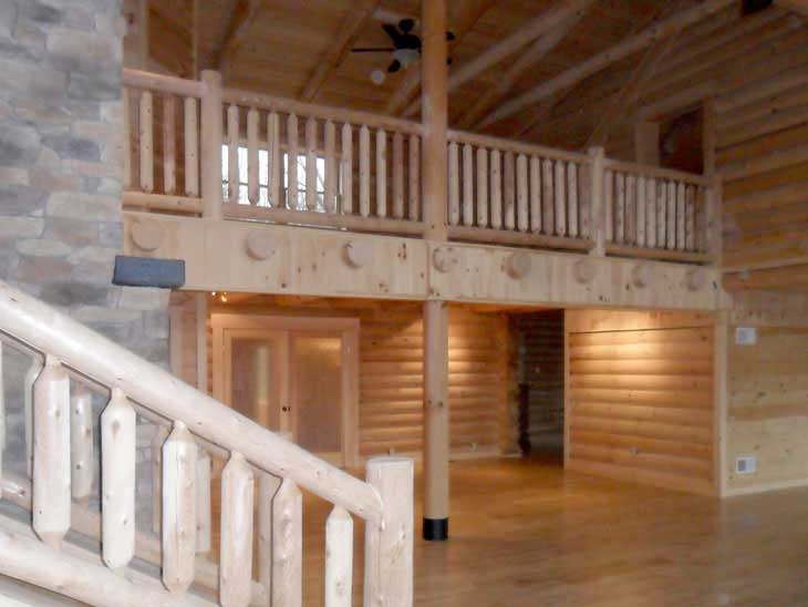 log cabin home stairs and loft