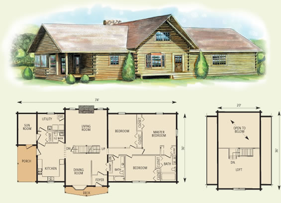 blue ridge log home and log cabin floor plan