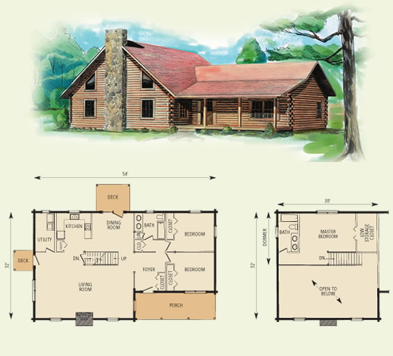 braxton log home and log cabin floor plan
