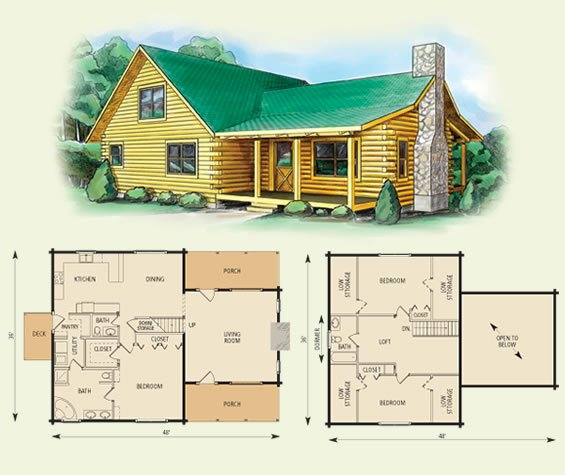 carolina log home and log cabin floor plan