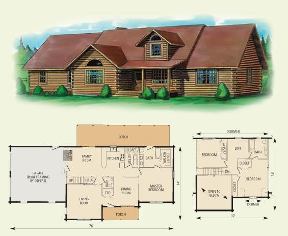 charleston log home and log cabin floor plan