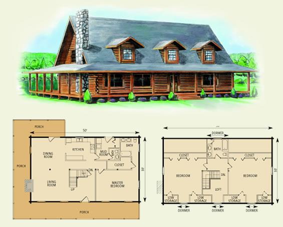 charlottesville log home and log cabin floor plan