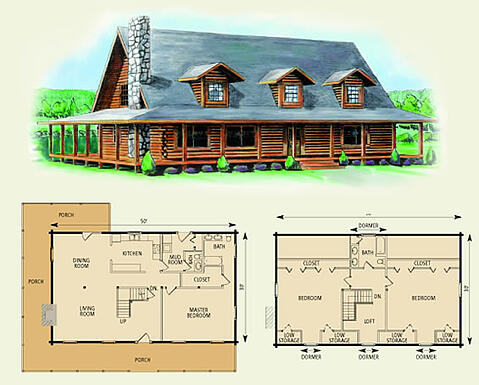 charlottesville log home and log cabin floor plan