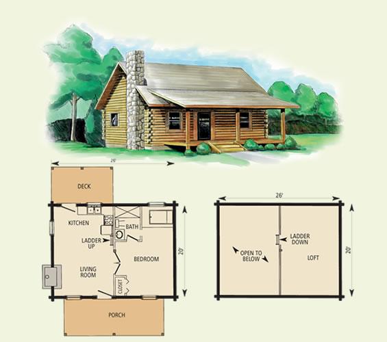 cherokee log home and log cabin floor plan