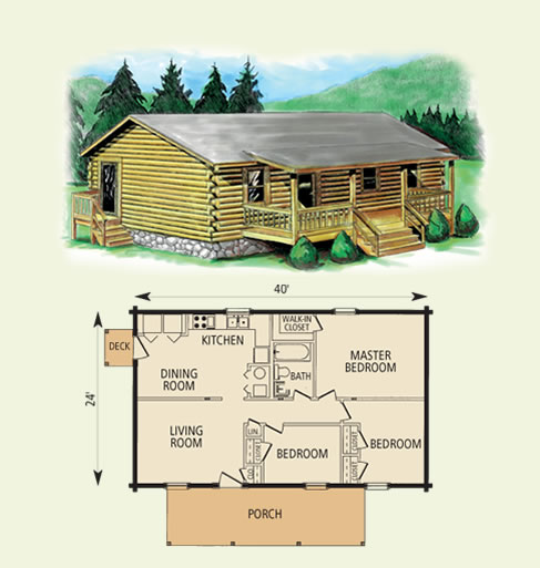 cimmaron log home and log cabin floor plan