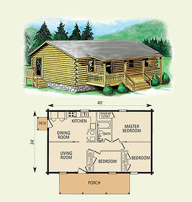 cimmaron log home and log cabin floor plan