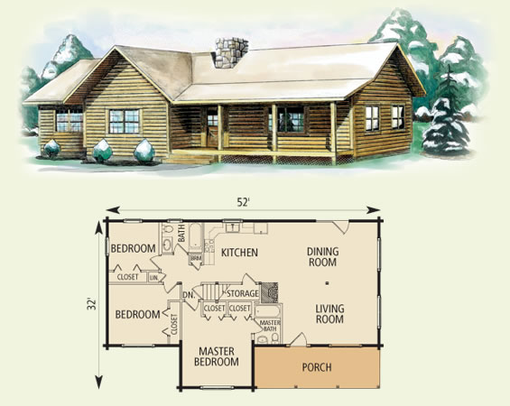 clay log home and log cabin floor plan