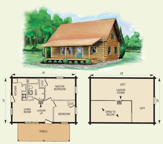 cumberland log home and log cabin floor plan