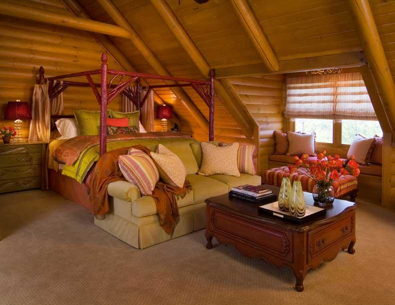 log home bedroom
