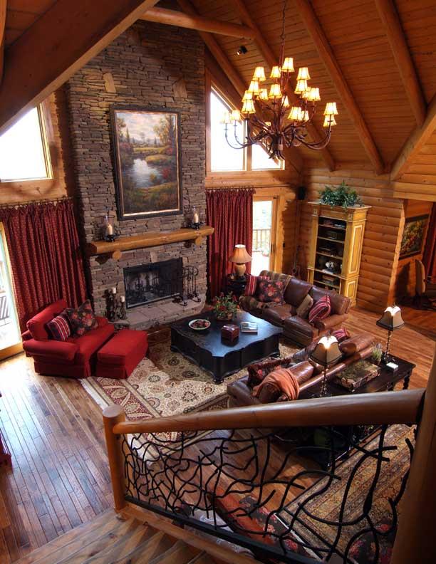 custom log home fireplace