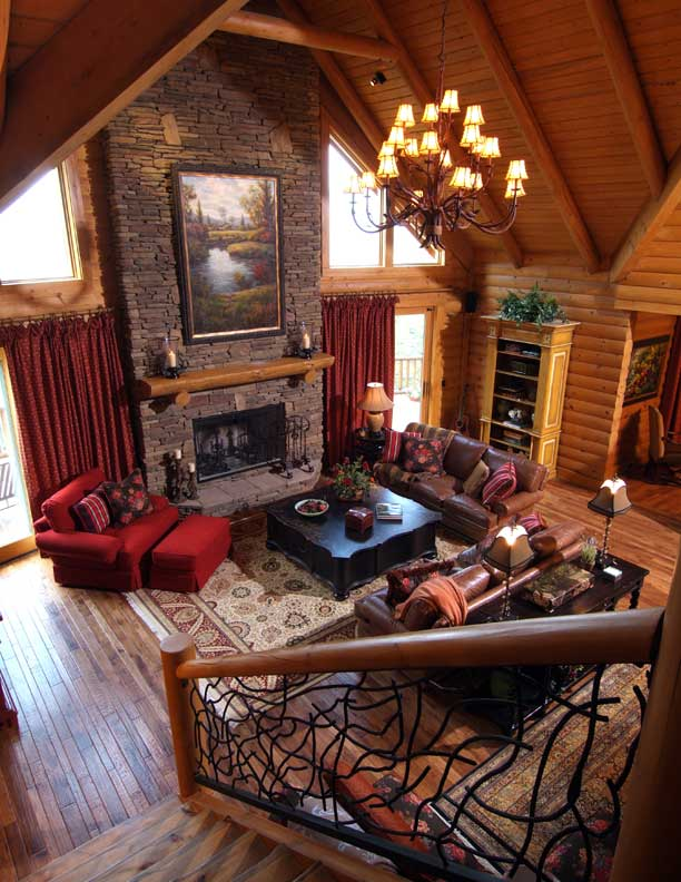 custom log home fireplace