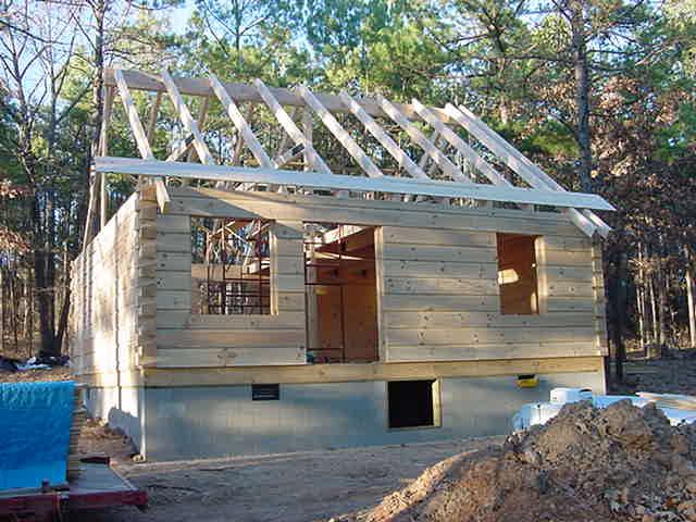 log home under construction