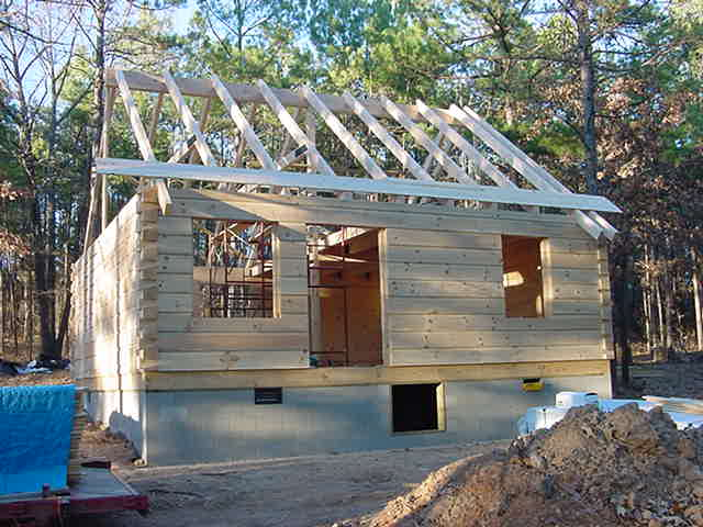 log home under construction