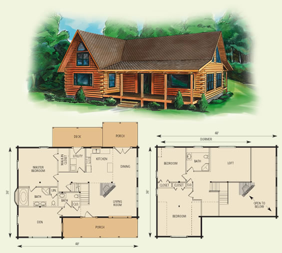 dogwood II log home and log cabin floor plan