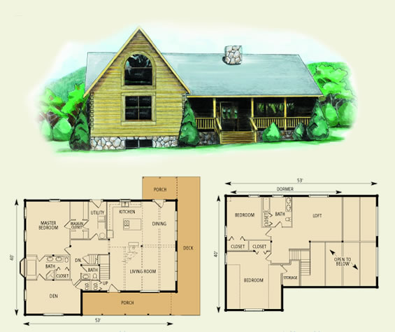dogwood log home and log cabin floor plan