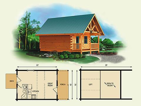 fairlea log home and log cabin floor plan