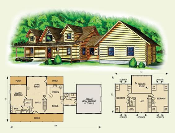 fairmont log home and log cabin floor plan