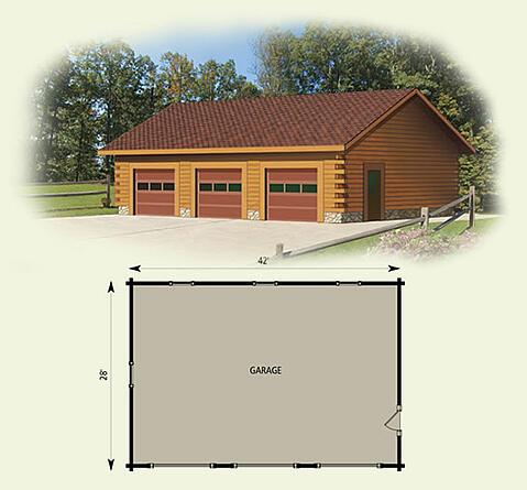 garage log home and log cabin floor plan