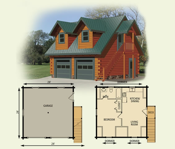 24x24 Garage Cottage Log Home Floor Plan