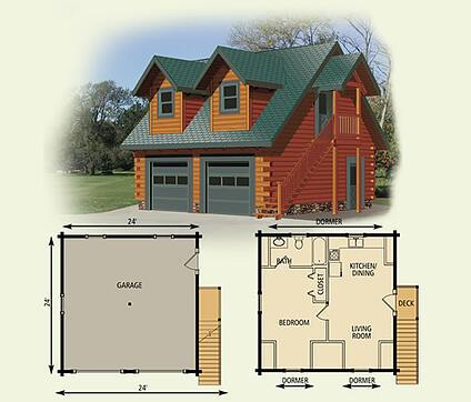 24x24 Garage Cottage Log Home Floor Plan