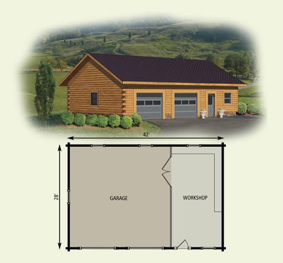 garage workshop log home and log cabin floor plan