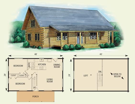 goshen log home and log cabin floor plan
