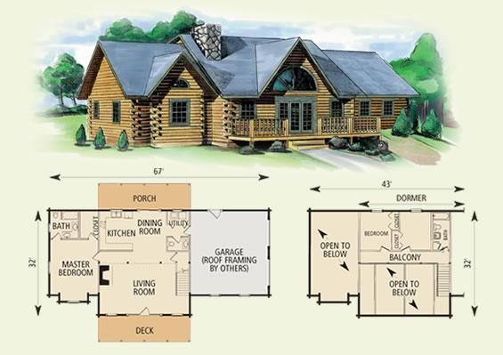 greenbrier II log home and log cabin floor plan