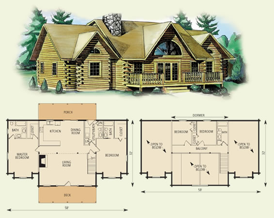 greenbrier log home and log cabin floor plan