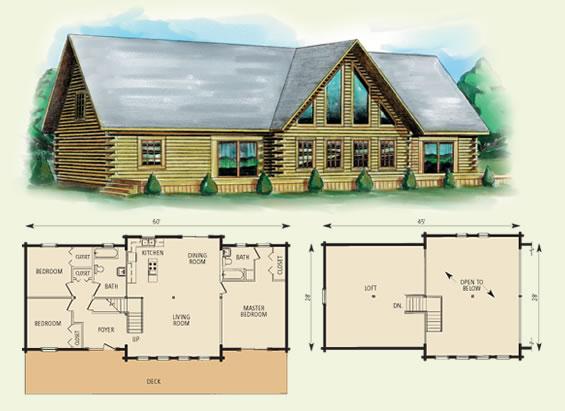 hamilton log home and log cabin floor plan