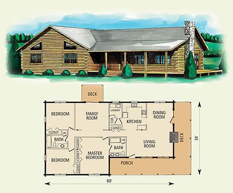 Hampshire Log Home Floor Plan