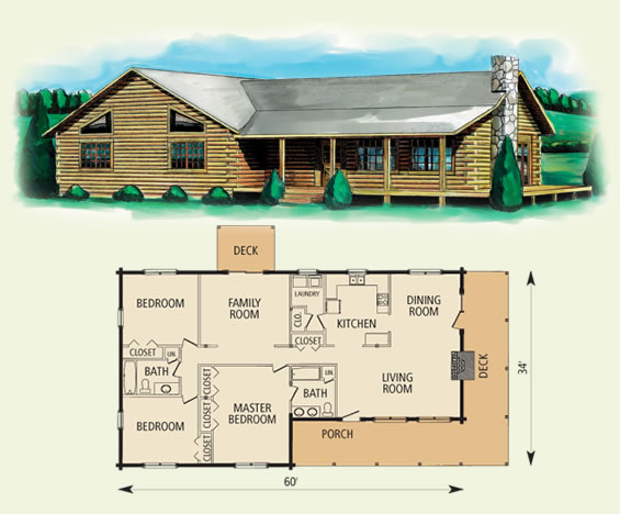 hampshire log home and log cabin floor plan