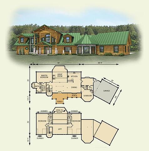 hawks nest log home and log cabin floor plan