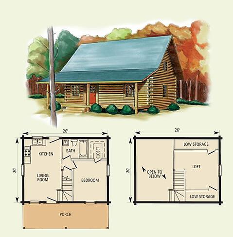 hideaway log home and log cabin floor plan