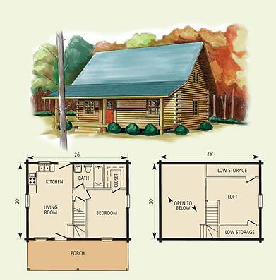 Hideaway Log Home Floor Plan