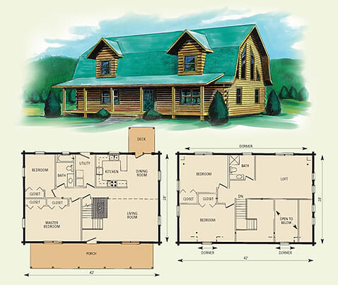 jefferson II log home and log cabin floor plan