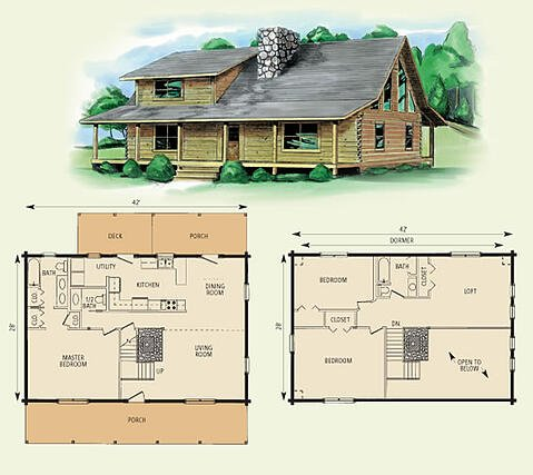 jefferson log home and log cabin floor plan