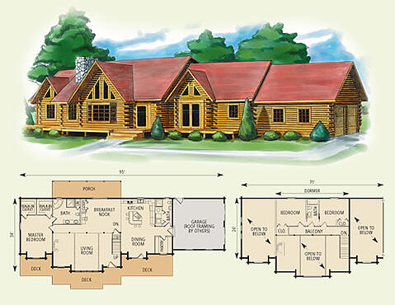 kansas log home and log cabin floor plan  Kansas Log Home Floor Plan. 4 Bedroom Log Cabin Floor Plans