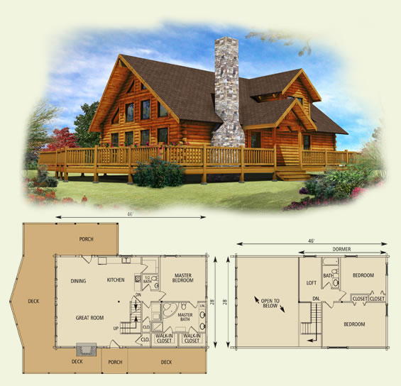 lakefront II log home and log cabin floor plan
