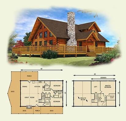 Lakefront log home floor plan for Lakefront home floor plans