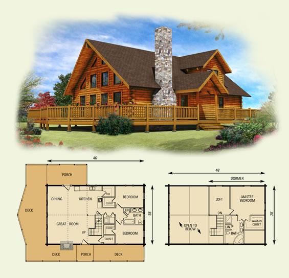 lakefront log home and log cabin floor plan