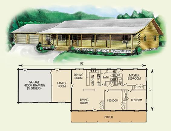 leland log home and log cabin floor plan