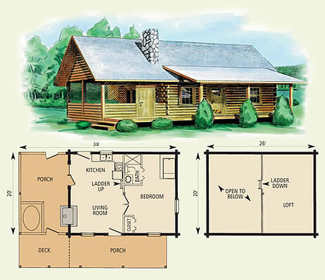 mingo log home and log cabin floor plan