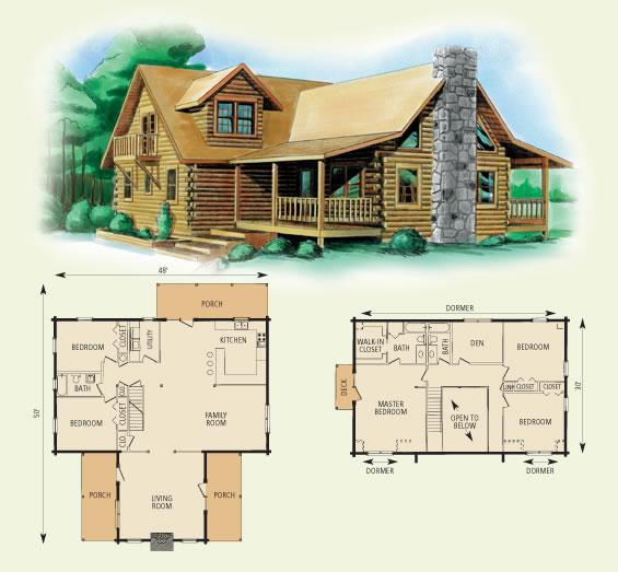 montgomery log home and log cabin floor plan
