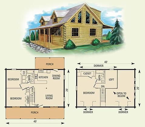 mount vernon II log home and log cabin floor plan