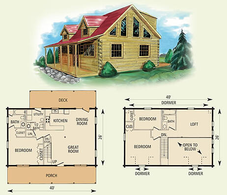 Mount Vernon Log Home Floor Plan